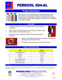 Perkins Perkool 694-AL Data Sheet